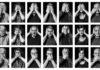 """Fotografie di Elia Falaschi che ritraggono attivisti, giornalisti e personaggi importanti dell'antimafia nella tipica posa """"non vedo, non sento, non parlo"""" in bianco e nero"""