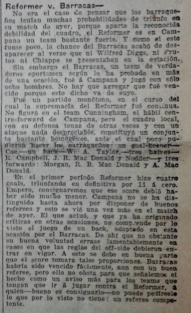 Un trafiletto sulla partita tra Reformer e Barracas