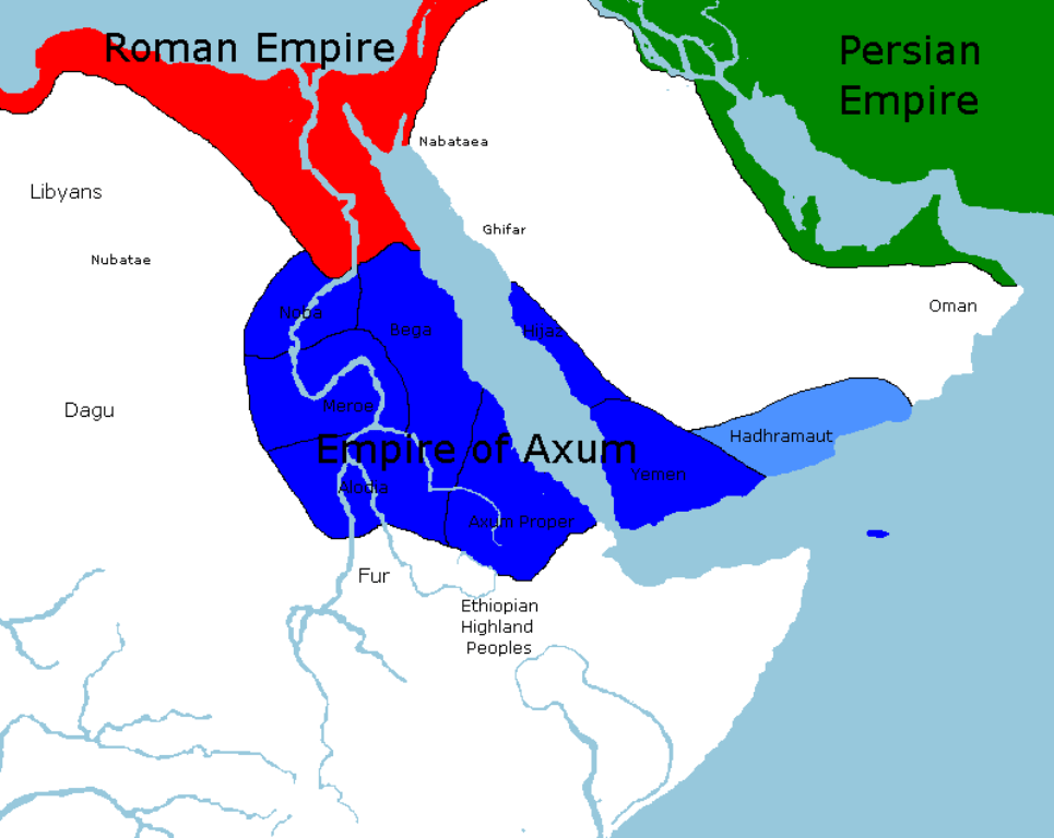 Domini diretti e aree di influenza dell'Impero di Axsum al suo apogeo, origine comune della storia dell'Eritrea e dell'Etiopia @proudpeople.fr