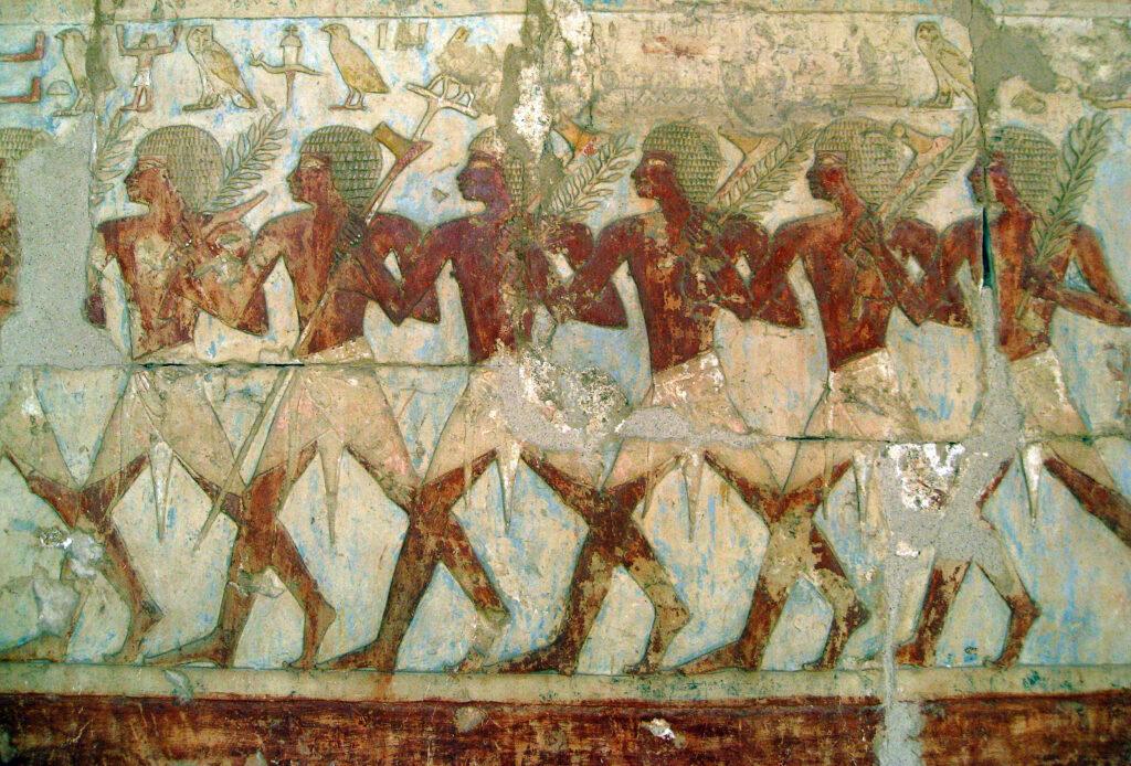 Membri della spedizione commerciale verso Punt, bassorilievo della camera mortuaria del faraone a Deir El-Bahri