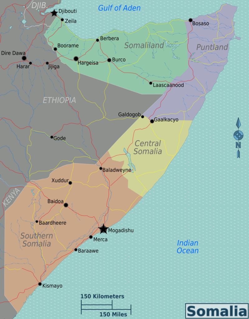 La cartina della Somalia