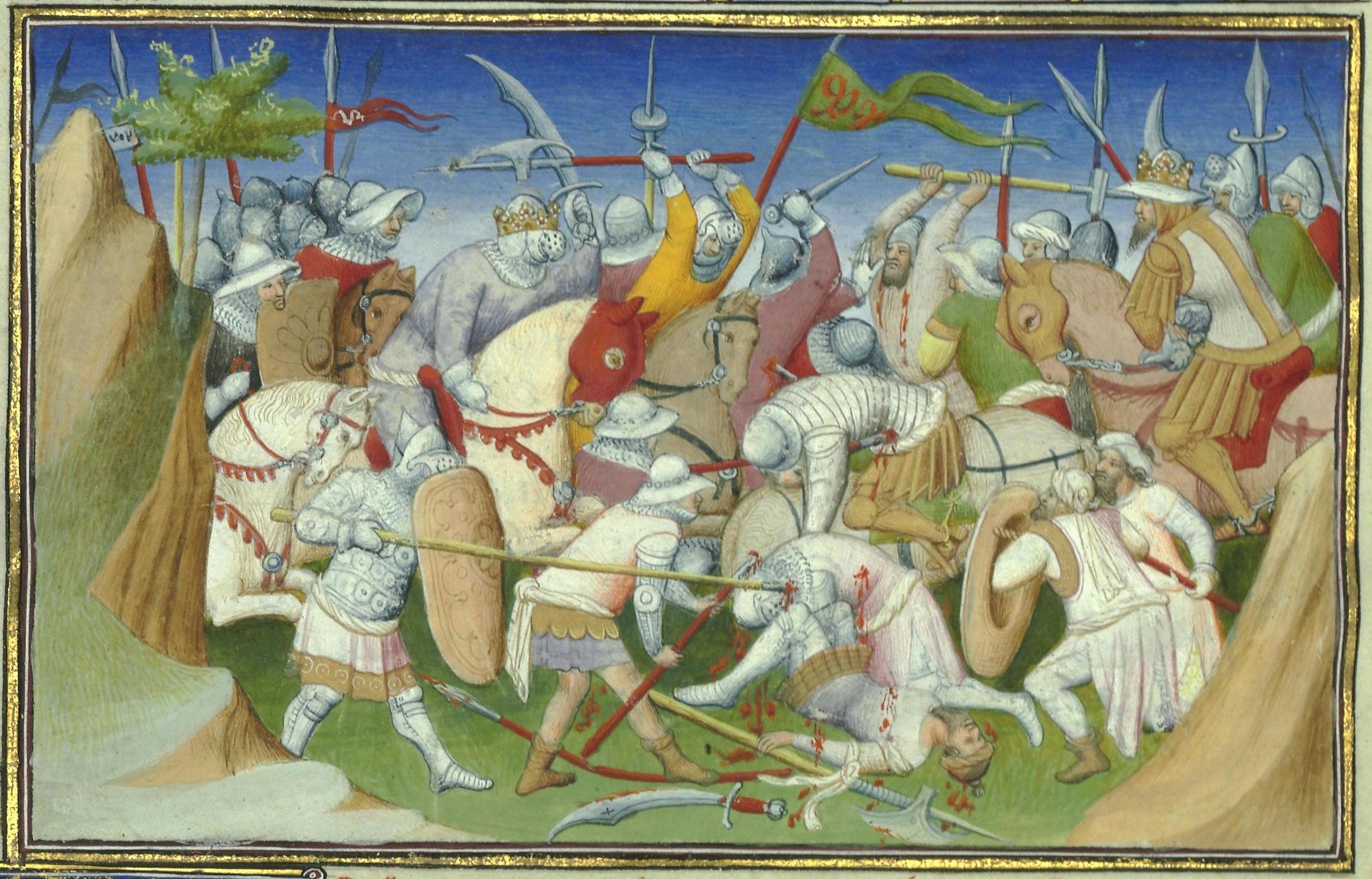 Rappresentazione francese dello scontro tra le forze del Ghazi (a destra) e del Negus (a sinistra), dal Libro delle Meraviglie, XV secolo