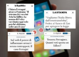 I titoli delle testate analizzate: La Repubblica, La Stampa e Il Foglio