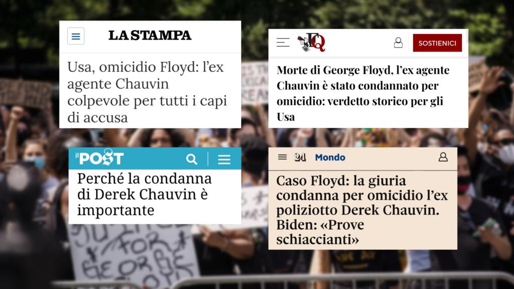 I titoli delle testate considerate: La Stampa, Il Fatto Quotidiano, Il Post e Il Sole 24 Ore