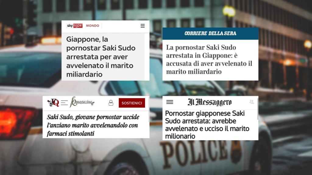 I titoli delle testate considerate: Sky TG24, Il Corriere della Sera, Il Fatto Quotidiano e Il Messaggero