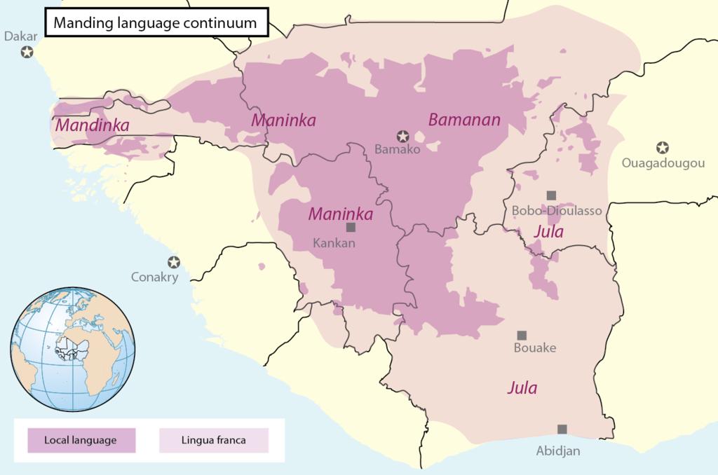 Diffusione della lingua Mandinka nell'Africa odierna