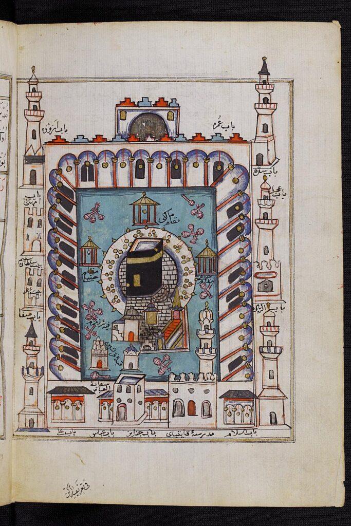 Rappresentazione ottomana del XVI secolo della Grande Moschea e della Ka'ba, intorno alla quale anche Mansa Musa compì 7 giri