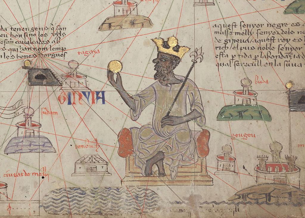 La rappresentazione più celebre di Mansa Musa, nella carta di Abraham Cresques del 1375
